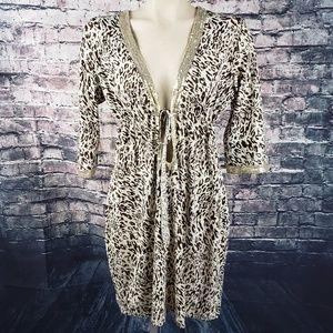 Baby Phat Cheetah Print Sequin Mini Dress, Medium